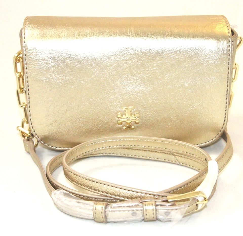 dab26f3113e4 Tory Burch Caitlin Mini Purse Metallic 36542 New Wi Gold Tone Calfskin Leather  Cross Body Bag