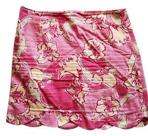 Lilly Pulitzer Casual Designer Floral Summer Light Bright Green Floral Skirt Pink yellow