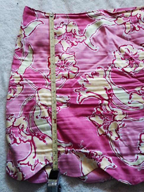 Lilly Pulitzer Casual Designer Floral Summer Light Bright Green Floral S Skirt Pink yellow