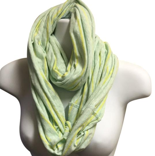 Gap Light Green With Yellow Stripe Infinity Scarf