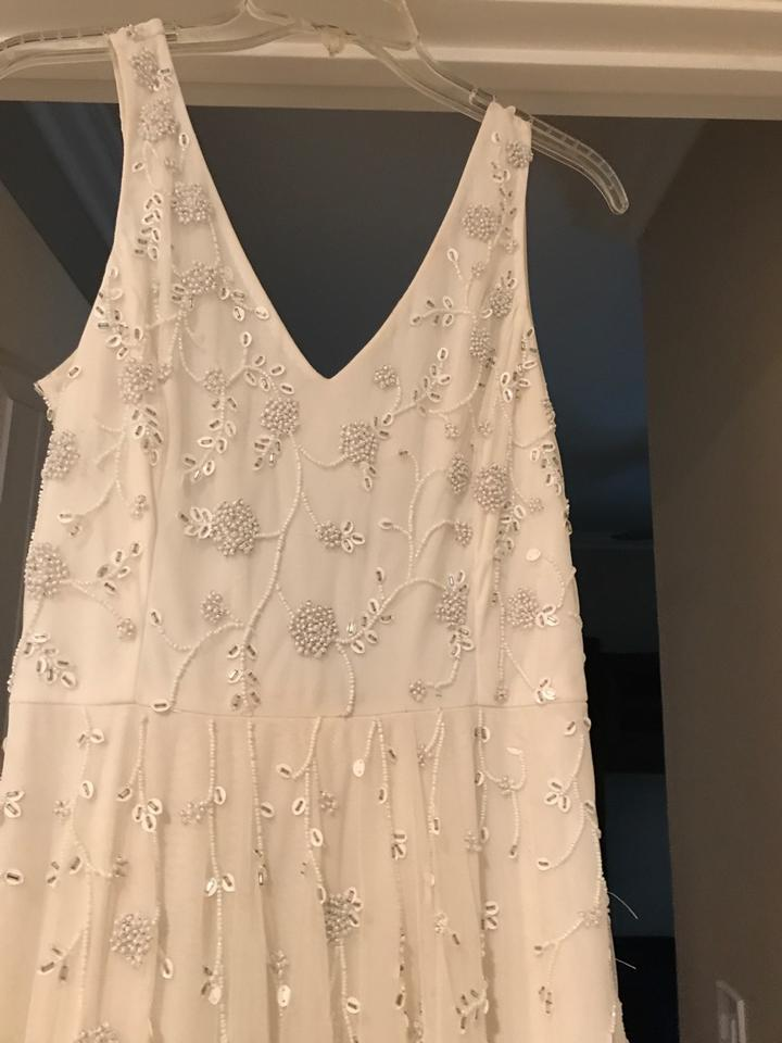 Adrianna Papell Ivory Polyester Beaded Embellishments Tulle A Line