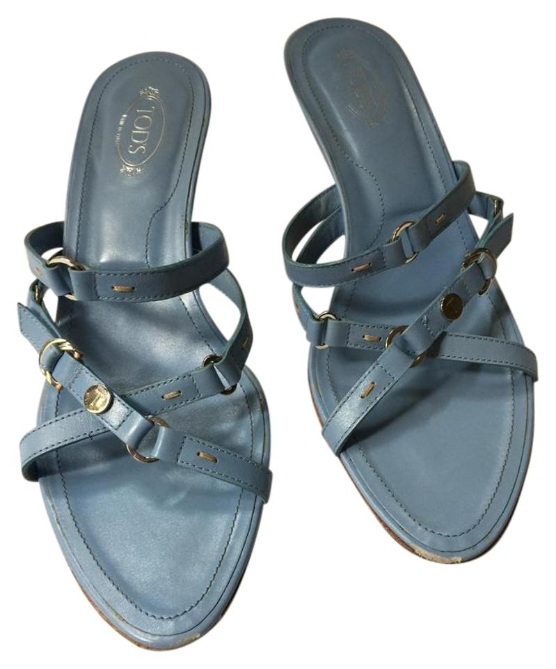 b3c53eb0cab9 Tod s Sky Blue Kitten with Silver Hardware Sandals Size US 9.5 ...