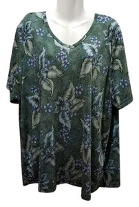Teddi Plus-size V-neck Gold Speckled Floral Top Emerald Green