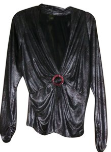 Cartise Ruched Wrap Empire Waist Top silver/bronze