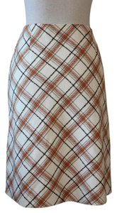 Sisley A-line Skirt Brown, Orange, Taupe and Cream Plaid