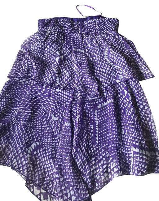 Item - Purple and Gray XS Tiered Ruffles Strapless Silk Short Night Out Dress Size 0 (XS)