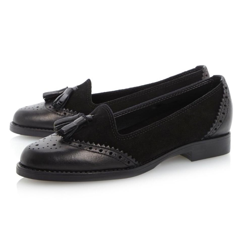 ded75361adf Dune London Black Lazarus Mixed Material Leather Suede Tassel Loafer ...