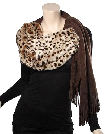 UNBRANDED Brown 100% Acrylic Knit Muffler W/ Animal Print Fur Image 0