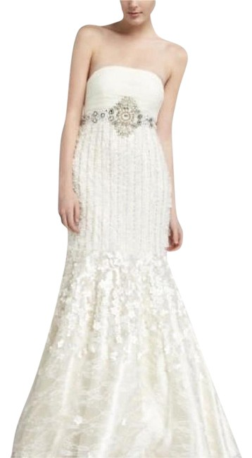 Item - Ivory Petal Beaded Strapless Pleated Mermaid -wedding. Stylew2121 Formal Dress Size 4 (S)