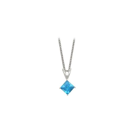Preload https://img-static.tradesy.com/item/22372463/blue-silver-square-cut-created-topaz-pendant-sterling-1ct-necklace-0-1-540-540.jpg