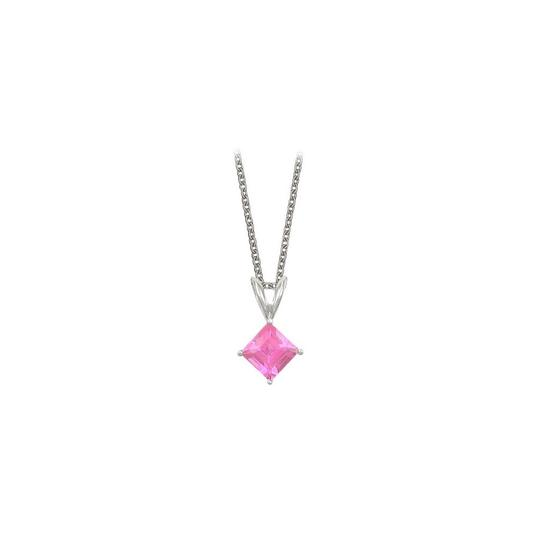 Preload https://img-static.tradesy.com/item/22372497/pink-silver-square-cut-created-topaz-pendant-sterling-1ct-necklace-0-1-540-540.jpg