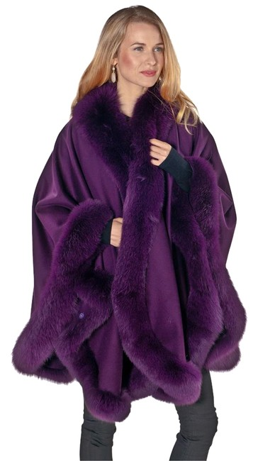 madisonavemall Real Fox Cashmere Fox Trim Real Fur Fox Fur Cape Image 0