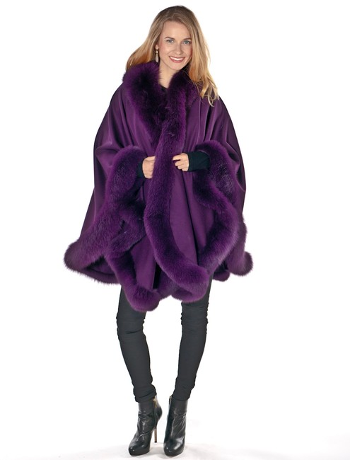 madisonavemall Real Fox Cashmere Fox Trim Real Fur Fox Fur Cape Image 1
