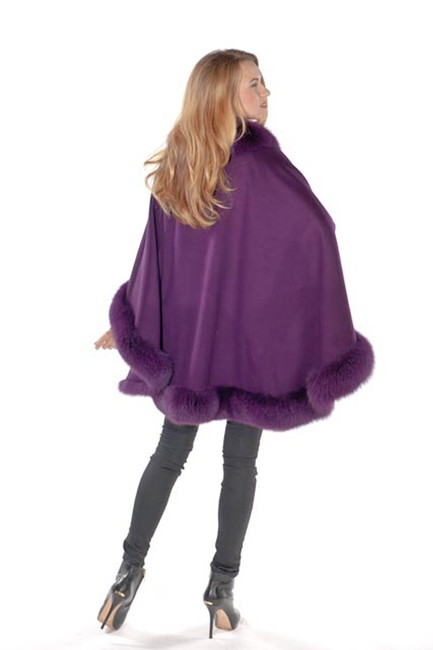 madisonavemall Real Fox Cashmere Fox Trim Real Fur Fox Fur Cape Image 2