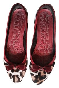 Coach Leopard Pony Hair Black white red Flats