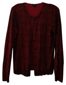 Ann Taylor red black leopard Cardigan Casual Sweater