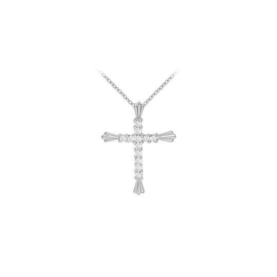 Marco B April Birthstone Cubic Zirconia Cross Pendant in 925 Sterling Silver Image 0