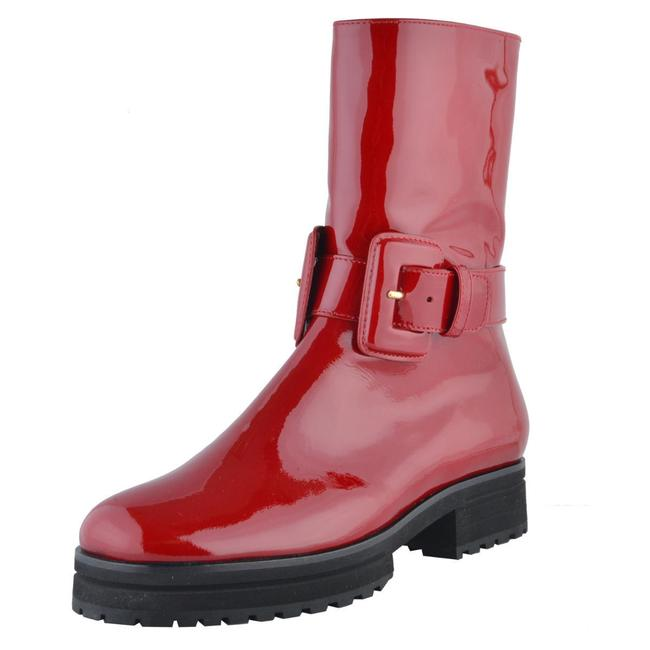 Item - Cherry Red Patent Leather Mid Calf Boots/Booties Size US 7 Regular (M, B)