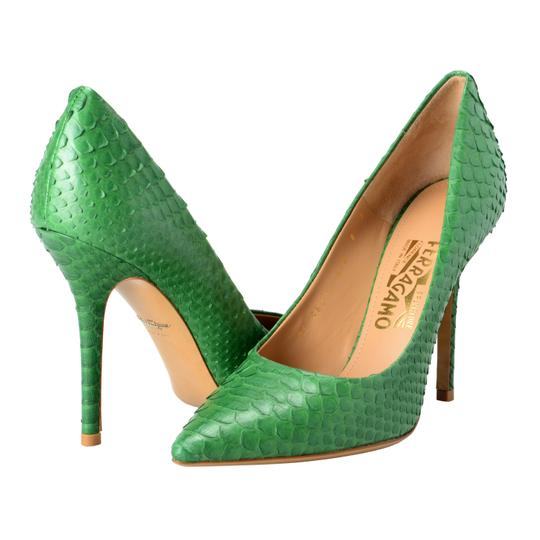 Salvatore Ferragamo Green Pumps Image 6