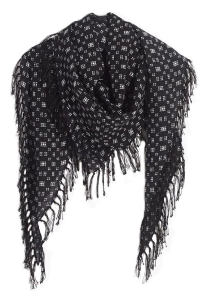 e534002efb6 Madewell Black Diamond Shape Print Fabric Is %37 Silk and %63 Viscose  Scarf/Wrap