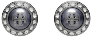 Tory Burch NEW!! TAGS PEARL ROUND METALLIC RHINESTONE STUD EARRINGS NWT DUST BAG