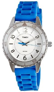 Timex T2P021 Sport Women's Blue Silicone Band With White Analog Dial Watch