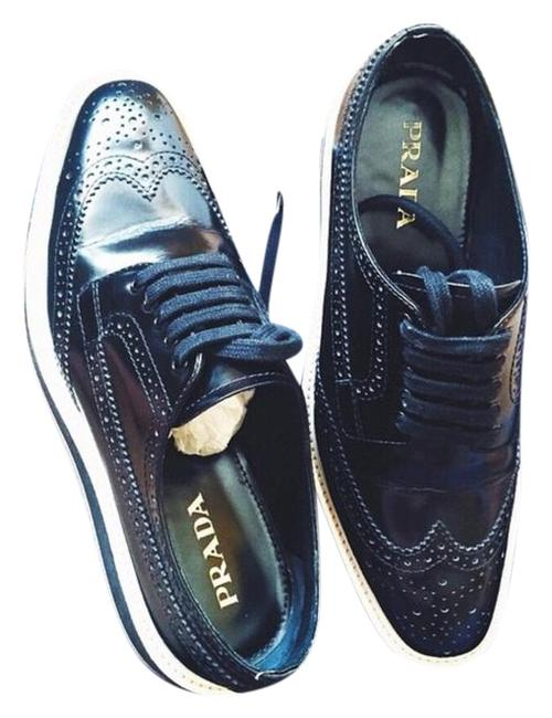 Item - Dark Blue/ Black Platform Brogue-trim Leather Oxford Sneakers Size US 7.5 Regular (M, B)