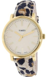 Timex TW2P69800 Women's Cheetah Leather Band With White Analog Dial Watch