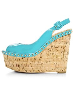 Christian Louboutin Cork Patent Leather Peep-toe turquoise Wedges
