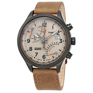 Timex TW2P78900 Men's Brown Leather Band With Beige Analog Dial Watch