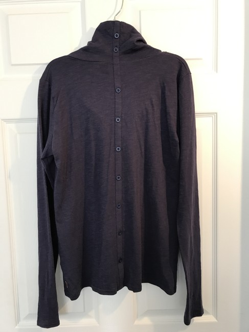 Lucy Athletic Wear Navy Long Sleeve Buttons Activewear T Shirt Lucy Blue Image 1