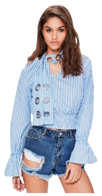 Preload https://img-static.tradesy.com/item/22374332/blue-stripe-grommet-tie-neck-blouse-size-8-m-0-1-650-650.jpg