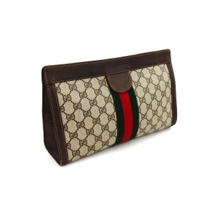 Gucci Cosmetics Webby Monogram Brown Clutch