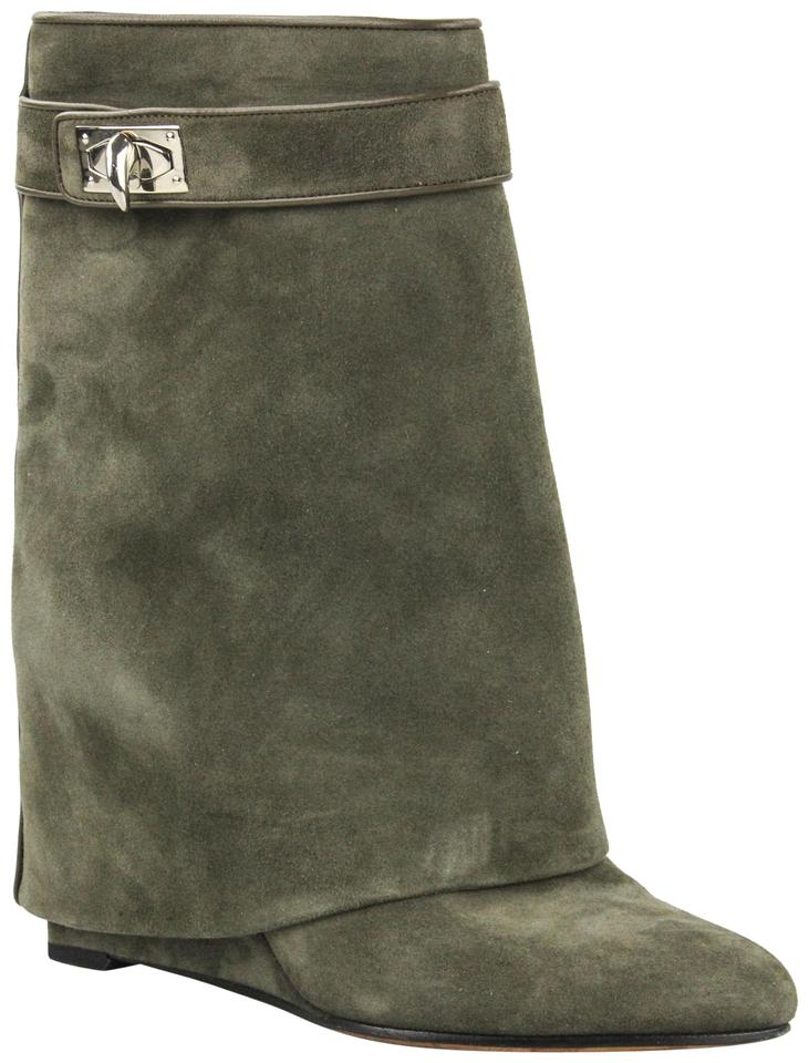 f6cde67242bb Givenchy Olive Brown Suede Shark Lock Ankle Boots Booties Size EU 37 ...
