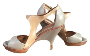 Leifsdottir Sculptural Architectural Halter Two-tone Unusual Heel Taupe and Camel Sandals