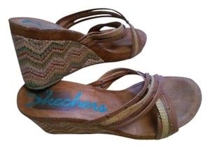 Skechers Leather Straps Woven Multi-Tan Wedges