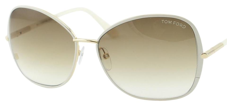73f3ef30fa0 Tom Ford New TOM FORD SOLANGE FT 0319 Ivory Gold Oversize Squared Sunglasses  Image 0 ...