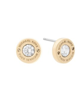 Michael Kors NWT MICHAEL KORS HAUTE HARDWRE CRYSTAL STUD EARRINGS GOLD TONE W BAG