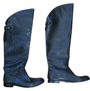 Coach Leather Over The Knee Flat Black Boots