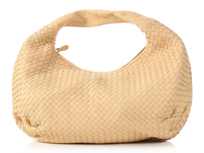 Item - Woven Belly Cream Beige Leather Hobo Bag