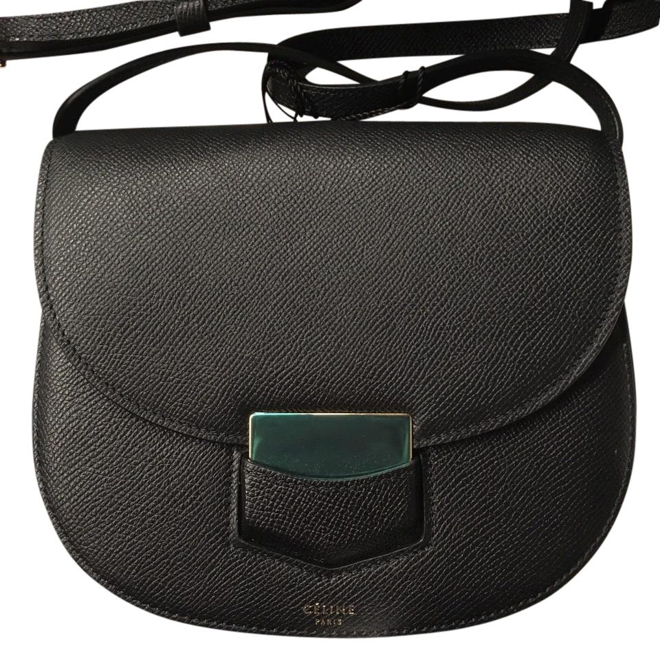 3fa85d2cb4f Céline Trotteur Small Grained Black Leather Cross Body Bag 36% off retail