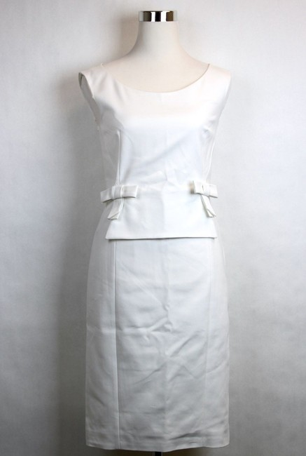 Item - White W New W/Ribbon Bow 42 319230 9011 Mid-length Short Casual Dress Size 6 (S)