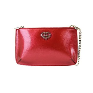 Gucci Gucci Red Shiny Leather Cosmetic Case Interlocking G Clutch 338192