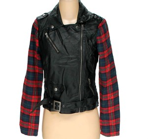 Ashley By 26 International Plaid Faux Leather Motorcycle Zipped Belted Moto Black and Red Jacket