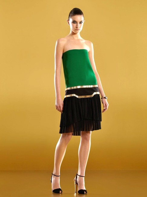Item - Green/Black Runway Silk Strapless Multi Pleated 40 289710 Mid-length Cocktail Dress Size 4 (S)
