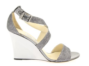 Jimmy Choo Metallic Glitter Strappy Dark Grey Wedges