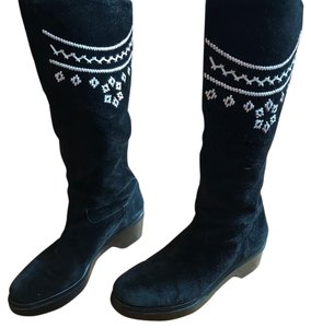 Robert Clergerie Black with White Leather Embroidery - so cute! Boots