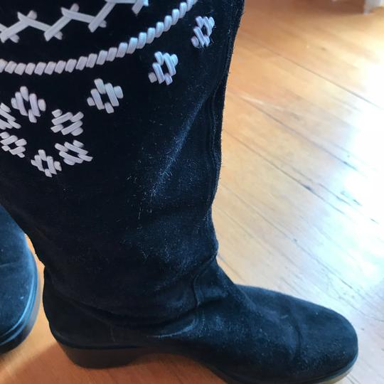 Robert Clergerie Black with White Leather Embroidery - so cute! Boots Image 1
