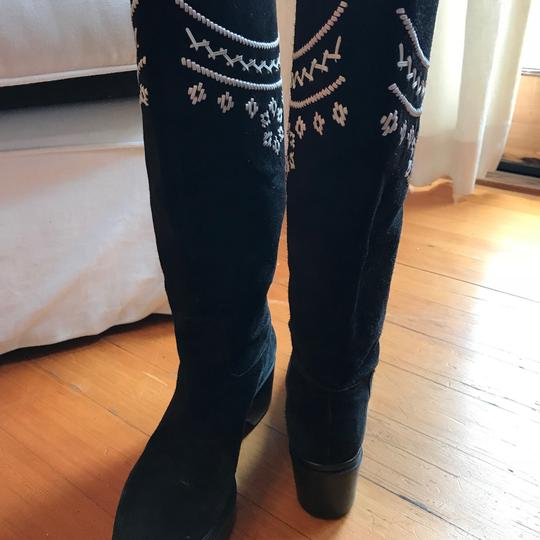 Robert Clergerie Black with White Leather Embroidery - so cute! Boots Image 2