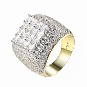 Master Of Bling Princess Cut Solitaire Ring Full Iced Out Wedding 14k Gold Over 925